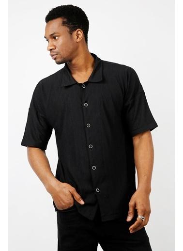 XHAN Mercan Salaş Kısa Kollu Gömlek 1Kxe2-44733-64 Siyah